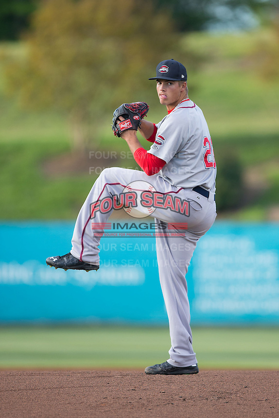 Greenville Drive starting pitcher Jamie Callahan (23) in action against the Kannapolis Intimidators at CMC-Northeast Stadium on April 28, 2015 in Kannapolis, North Carolina.  The Intimidators defeated the drive 3-2.  (Brian Westerholt/Four Seam Images)