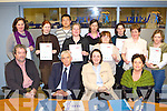 CERTS: Receiving their FA?S Skills for work in conjunction with Kerry Education Services in Aetna, Castleisland on Thursday was front l-r: John McGrath, Eugene Higgins (FA?S), Deirdre Fitzgerald (KES), Marguerite Brosnan (KES). Back l-r: Ester O'Connor, Amanda Kennedy, Jeff Liu, Teresa Deane, Mary O'Donoghue, Brenda Lenihan, Helen Corcoran, Margaret Scanlon and Deirdre Walsh.   Copyright Kerry's Eye 2008