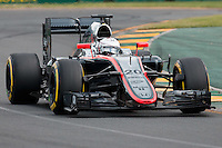 March 14, 2015: Kevin Magnussen (DEN) #20 from the McLaren Honda team rounds turn two during qualification at the 2015 Australian Formula One Grand Prix at Albert Park, Melbourne, Australia. Photo Sydney Low