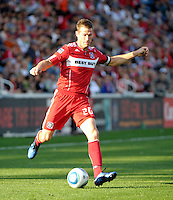 Chicago Fire forward Brian McBride (20) prepares to pass.  The Chicago Fire tied DC United 0-0 at Toyota Park in Bridgeview, IL on Oct. 16, 2010.