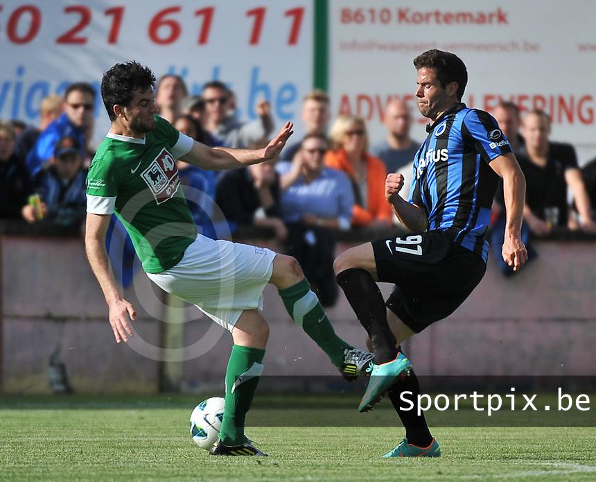Torhout KM - Club Brugge KV : duel tussen Valentinos Vlachos (rechts) en Thomas Depoorter (links)<br /> foto VDB / Bart Vandenbroucke