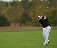 18.10.2014. The London Golf Club, Ash, England. The Volvo World Match Play Golf Championship.  Day 4 quarter final matches.  George Coetzee [RSA] second shot third hole.