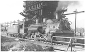 3/4 view of K-28 #470 with plow at coaling tower in Salida.<br /> D&amp;RGW  Salida, CO