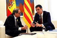 Pedro Sanchez receives the President of Generalitat of Catalonia Quim Torra.