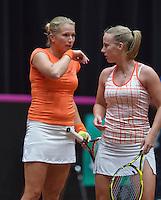 The Netherlands, Den Bosch, 20.04.2014. Fed Cup Netherlands-Japan, Krajicek (NED)/Hogenkamp<br /> Photo:Tennisimages/Henk Koster