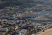 Aerial view of SA1 area and the Docks Swansea