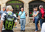 "VMI Vincentian Heritage Tour: The Rev. Edward Udovic, C.M., leads members of the Vincentian Mission Institute cohort through the hilltop village of Pérouges on Tuesday, June 28, 2016, site of the classic film ""Monsieur Vincent"". (DePaul University/Jamie Moncrief)"