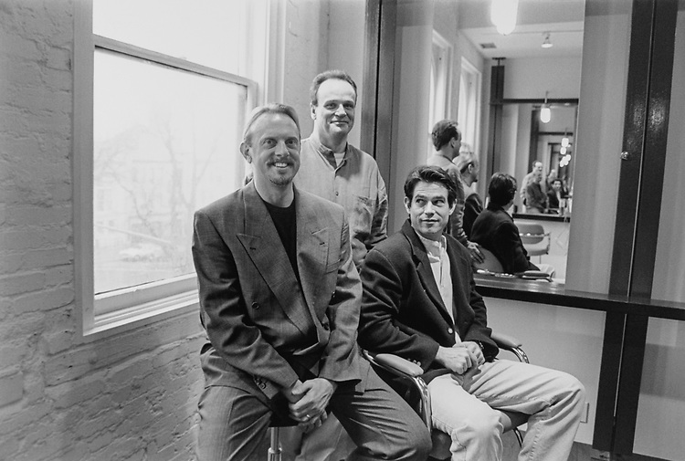 Jim Rennie, Terry Mackey and Evan Pherson pose in new hair salon and body services business building above Moon Blossoms Pennsylvania, SE, on Feb. 22, 1996. (Photo by Laura Patterson/CQ Roll Call via Getty Images)