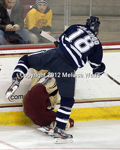 Jeff Silengo (UNH - 18), Patch Alber (BC - 3) - The Boston College Eagles defeated the visiting University of New Hampshire Wildcats 4-3 on Friday, January 27, 2012, in the first game of a back-to-back home and home at Kelley Rink/Conte Forum in Chestnut Hill, Massachusetts.