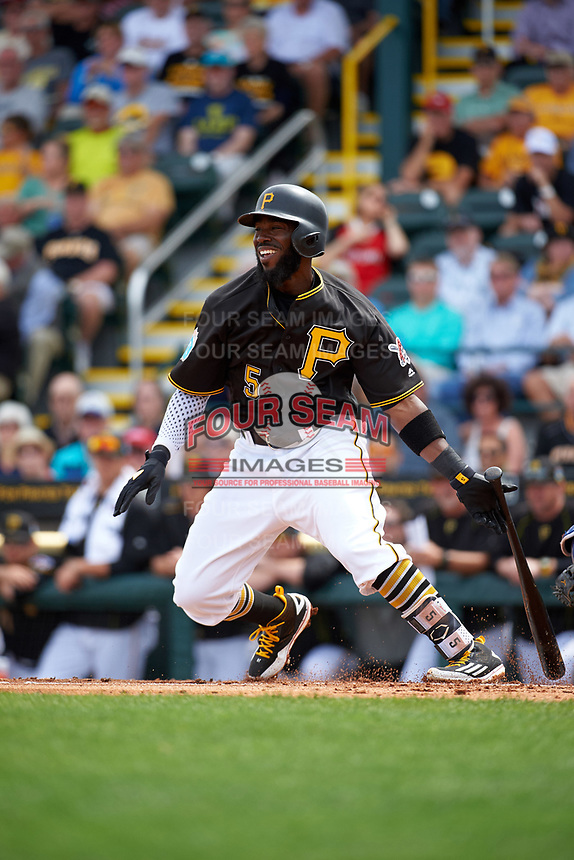 Pittsburgh Pirates second baseman Josh Harrison (5) at bat during a Spring Training game against the Toronto Blue Jays  on March 3, 2016 at McKechnie Field in Bradenton, Florida.  Toronto defeated Pittsburgh 10-8.  (Mike Janes/Four Seam Images)