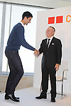 "Novak Djokovic, Tadashi Yanai, president of Uniqlo announcing the launch of ""Clothes for Smiles"" foundation', press conference on 16 Oct 2012 Tokyo Japan. (Photo by Motoo Naka)"