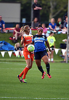 Kansas City, MO - Saturday May 07, 2016: FC Kansas City defender Desiree Scott (3) and Houston Dash midfielder Morgan Brian (6) go for the ball during a regular season National Woman's Soccer League (NWSL) match at Swope Soccer Village. Houston won 2-1.