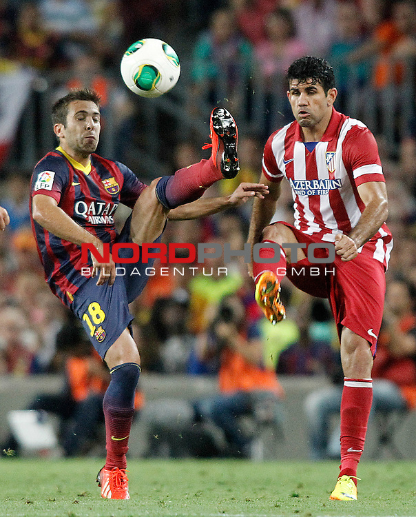 FC Barcelona's Jordi Alba (l) and Atletico de Madrid's Diego Costa during Supercup of Spain 2nd match.August 28,2013. Foto © nph / Acero)
