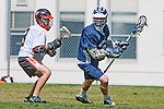 Beverly Hills, CA 04/12/10 - Anthony Cohen (Beverly Hills # 8) and Maxwell Lightbourn (Loyola # 8) in action during the Loyola-Beverly Hills Boys Varsity Lacrosse game at Beverly Hills High School, Loyola defeated Beverly Hills 16-0.