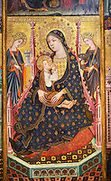 Gothic Altarpiece of the Madonna and Child nursing or Madonna Lactans, with St Clara and St Anthony the Abbot from the workshop of Llorenc, Saragossa,  last quarter of the 14th century, tempera and gold leaf on for wood, from Xelva (Valencia),  National Museum of Catalan Art, Barcelona, Spain, inv no: MNAC  64027.