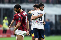 Lecce players celebrate the draw at the end of the match <br /> Milano 20/10/2019 Stadio Giuseppe Meazza <br /> Football Serie A 2019/2020 <br /> AC Milan - Lecce <br /> Photo Image Sport / Insidefoto