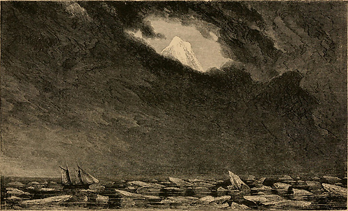 Beerenberg suddenly appears through a gap in the clouds above the fog and the ice around Lord Dufferin's Foam (lower left) in 1856