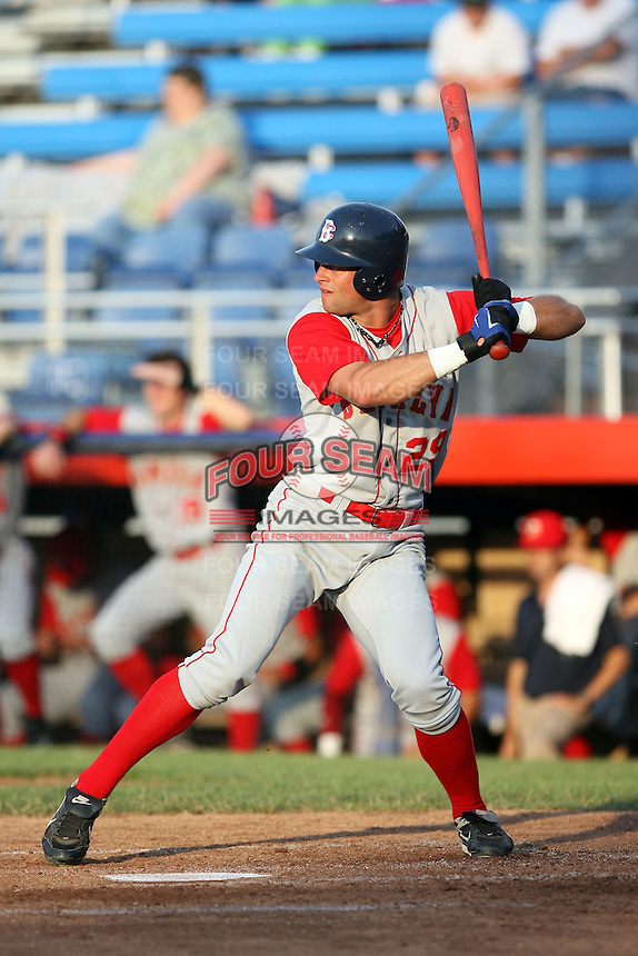 July 11th 2008:  Kirk Nieuwenhuis (29) of the Brooklyn Cyclones, Class-A affiliate of the NY Mets, during a game at Russell Diethrick Park in Jamestown, NY.  Photo by:  Mike Janes/Four Seam Images