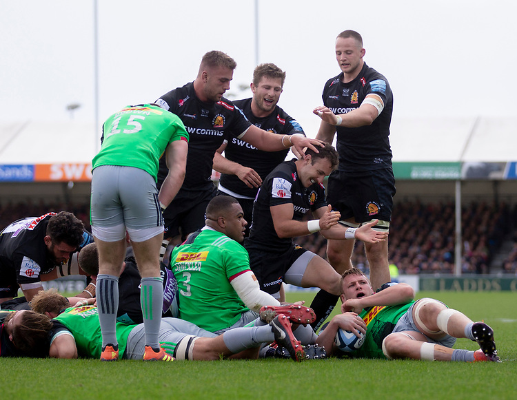 Exeter Chiefs' Nic White celebrates scoring his sides second try<br /> <br /> Photographer Bob Bradford/CameraSport<br /> <br /> Gallagher Premiership - Exeter Chiefs v Harlequins - Saturday 27th April 2019 - Sandy Park - Exeter<br /> <br /> World Copyright © 2019 CameraSport. All rights reserved. 43 Linden Ave. Countesthorpe. Leicester. England. LE8 5PG - Tel: +44 (0) 116 277 4147 - admin@camerasport.com - www.camerasport.com
