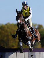 Harbour Pilot, with rider Hannah Sue Burnett (USA), competes during the Cross Country test during the Fair Hill International at Fair Hill Natural Resources Area in Fair Hill, Maryland on October 20, 2012.
