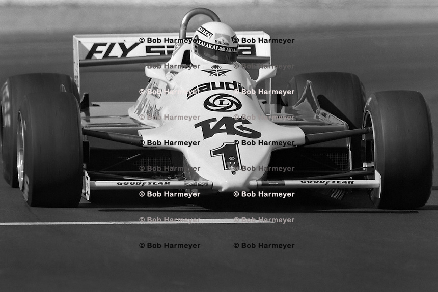 LAS VEGAS, NV - OCTOBER 17: Alan Jones drives the Williams FW07C 16/Ford Cosworth en route to victory in the Caesar's Palace Grand Prix FIA Formula One World Championship race on the temporary circuit in Las Vegas, Nevada, on October 17, 1981.