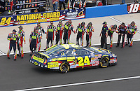 Apr 28, 2007; Talladega, AL, USA; Nascar Busch Series driver Casey Mears (42) is cheered by his crew prior to the Aarons 312 at Talladega Superspeedway. Mandatory Credit: Mark J. Rebilas