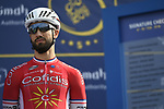 Nacer Bouhanni (FRA) Cofidis at sign on before the start of Stage 2 The  Ras Al Khaimah Stage of the Dubai Tour 2018 the Dubai Tour&rsquo;s 5th edition, running 190km from Skydive Dubai to Ras Al Khaimah, Dubai, United Arab Emirates. 7th February 2018.<br /> Picture: LaPresse/Fabio Ferrari | Cyclefile<br /> <br /> <br /> All photos usage must carry mandatory copyright credit (&copy; Cyclefile | LaPresse/Fabio Ferrari)