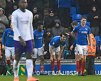 John Marquis of Portsmouth middle is congratulated by Cameron McGeehan of Portsmouth after scoring the second goal during Portsmouth vs Shrewsbury Town, Sky Bet EFL League 1 Football at Fratton Park on 15th February 2020