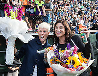 Seattle, WA - Saturday July 16, 2016: Megan Rapinoe, Hope Solo prior to a regular season National Women's Soccer League (NWSL) match between the Seattle Reign FC and the Western New York Flash at Memorial Stadium.