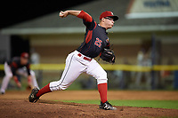 Batavia Muckdogs relief pitcher RJ Peace (25) delivers a pitch during a game against the Mahoning Valley Scrappers on August 16, 2017 at Dwyer Stadium in Batavia, New York.  Batavia defeated Mahoning Valley 10-6.  (Mike Janes/Four Seam Images)