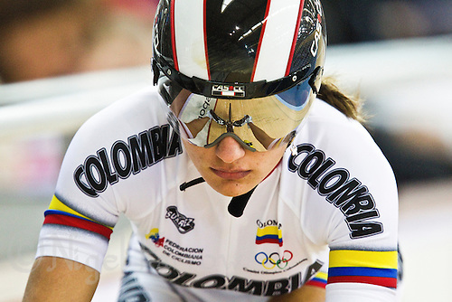 18 FEB 2012 - LONDON, GBR - Colombia's Juliana Gaviria Rendon (COL) starts her qualifying lap for the Women's Sprint during the UCI Track Cycling World Cup, and London Prepares test event for the 2012 Olympic Games, at the Olympic Park Velodrome in Stratford, London, Great Britain (PHOTO (C) 2012 NIGEL FARROW)
