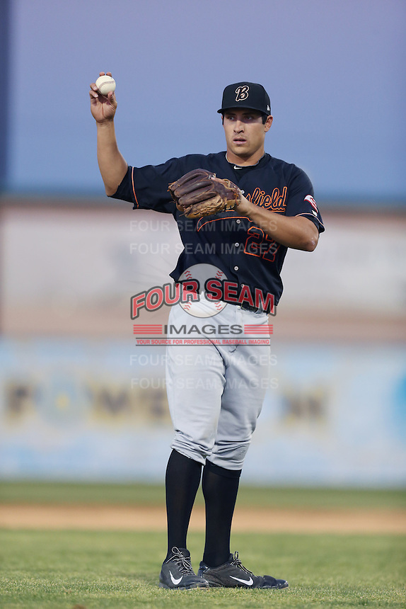 Seth Mejias-Brean #27 of the Bakersfield Blaze during a game against the Lancaster JetHawks at The Hanger on May 13, 2014 in Lancaster California. Lancaster defeated Bakersfield, 1-0. (Larry Goren/Four Seam Images)
