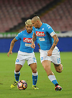 Lorenzo Insigne  and Marek Hamsik  during the  italian serie a soccer match,between SSC Napoli and AC Chievo       at  the San  Paolo   stadium in Naples  Italy , September 25, 2016