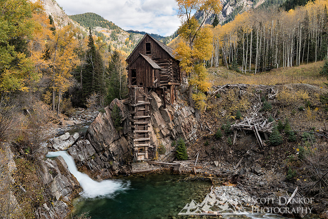 A rough 4x4 road leads to the Crystal Mill located on the Crystal River near Marble, Colorado.