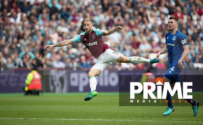 Marco Arnautovic of West Ham scores a goal during the Premier League match between West Ham United and Everton at the Olympic Park, London, England on 13 May 2018. Photo by Andy Rowland / PRiME Media Images.