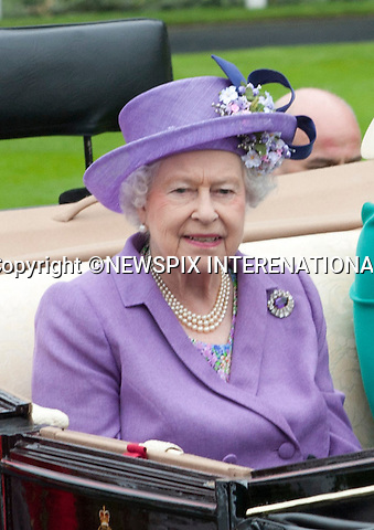 THE QUEEN<br /> attend the Royal Meeting at Ascot on Ladies Day, Ascot Racecourse, Ascot_20/06/2013<br /> Mandatory Credit Photo: &copy;Dias/NEWSPIX INTERNATIONAL<br /> <br /> **ALL FEES PAYABLE TO: &quot;NEWSPIX INTERNATIONAL&quot;**<br /> <br /> IMMEDIATE CONFIRMATION OF USAGE REQUIRED:<br /> Newspix International, 31 Chinnery Hill, Bishop's Stortford, ENGLAND CM23 3PS<br /> Tel:+441279 324672  ; Fax: +441279656877<br /> Mobile:  07775681153<br /> e-mail: info@newspixinternational.co.uk