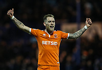 Blackpool's Harry Pritchard celebrates victory at the end of the match<br /> <br /> Photographer Andrew Kearns/CameraSport<br /> <br /> The EFL Sky Bet League One - Portsmouth v Blackpool - Saturday 12th January 2019 - Fratton Park - Portsmouth<br /> <br /> World Copyright &copy; 2019 CameraSport. All rights reserved. 43 Linden Ave. Countesthorpe. Leicester. England. LE8 5PG - Tel: +44 (0) 116 277 4147 - admin@camerasport.com - www.camerasport.com
