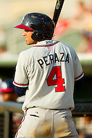 Jose Peraza (4) of the Rome Braves waits in the on deck circle during the South Atlantic League game against the Kannapolis Intimidators at CMC-Northeast Stadium on June 16, 2013 in Kannapolis, North Carolina.  The Intimidators defeated the Braves 6-4.   (Brian Westerholt/Four Seam Images)