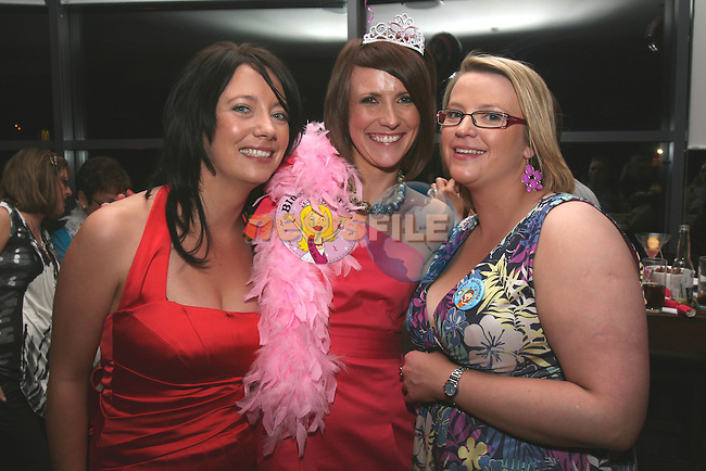 Elaine Heeney (centre) with her bridesmaids Marina Branigan and Rhona Dunne at her Hen Party in Bru....Photo NEWSFILE/Jenny Matthews.(Photo credit should read Jenny Matthews/NEWSFILE)....This Picture has been sent you under the condtions enclosed by:.Newsfile Ltd..The Studio,.Millmount Abbey,.Drogheda,.Co Meath..Ireland..Tel: +353(0)41-9871240.Fax: +353(0)41-9871260.GSM: +353(0)86-2500958.email: pictures@newsfile.ie.www.newsfile.ie.FTP: 193.120.102.198.