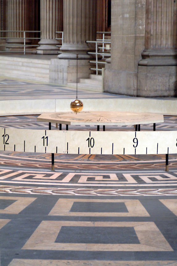 Foucault's Pendulum hanging inside the Parthenon in Paris, France.