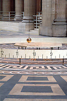 Foucault's Pendulum hanging inside the Parthenon in Paris, France.