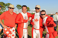 Avid Canadian fans were on hand during round 1 foursomes of the 2017 President's Cup, Liberty National Golf Club, Jersey City, New Jersey, USA. 9/28/2017.<br /> Picture: Golffile   Ken Murray<br /> ll photo usage must carry mandatory copyright credit (&copy; Golffile   Ken Murray)