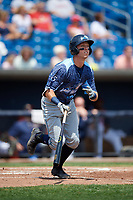 West Michigan Whitecaps second baseman Kody Clemens (21) runs to first base during a game against the Quad Cities River Bandits on July 23, 2018 at Modern Woodmen Park in Davenport, Iowa.  Quad Cities defeated West Michigan 7-4.  (Mike Janes/Four Seam Images)