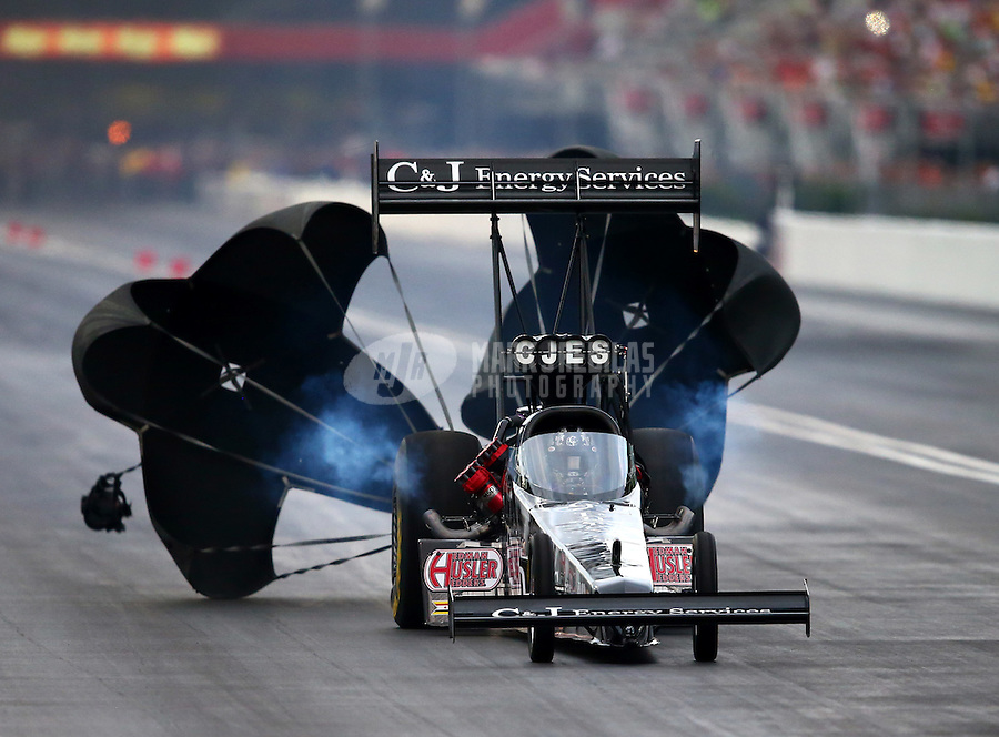 Jun 20, 2015; Bristol, TN, USA; NHRA top fuel driver Dave Connolly during qualifying for the Thunder Valley Nationals at Bristol Dragway. Mandatory Credit: Mark J. Rebilas-