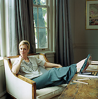 Actress-writer Alexandra Wentworth relaxes in the living room of her home