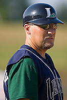 Lexington Legends manager Gregg Langbehn (20) in the third base coaches box at Fieldcrest Cannon Stadium in Kannapolis, NC, Sunday June 15, 2008.