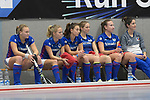 Mannheim, Germany, December 16: During the 1. Bundesliga Damen Hallensaison 2017/18 Sued  hockey match between Mannheimer HC (blue) and Muenchner SC (white) on December 16, 2017 at Irma-Roechling-Halle in Mannheim, Germany. Final score 8-3 (HT 5-1). (Photo by Dirk Markgraf / www.265-images.com) *** Local caption ***