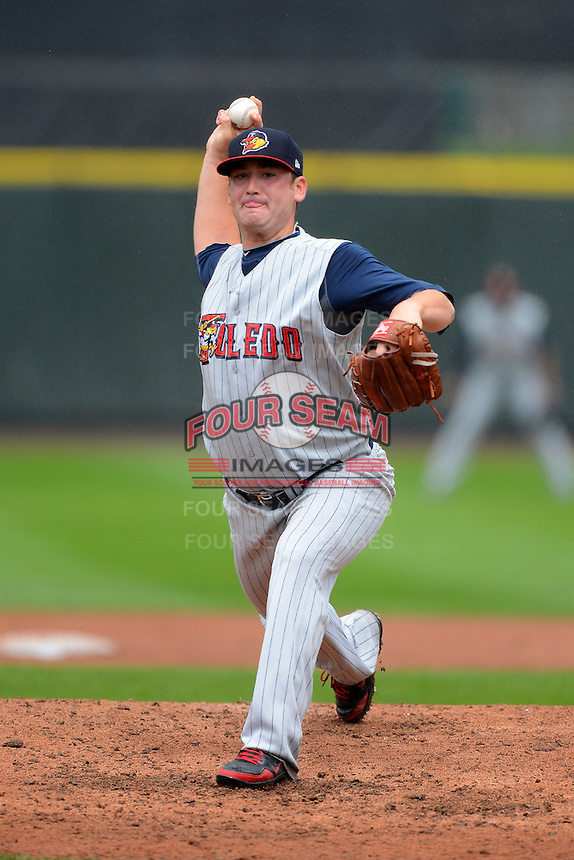 Toledo Mudhens pitcher Robbie Weinhardt #34 during a game against the Rochester Red Wings on June 11, 2013 at Frontier Field in Rochester, New York.  Toledo defeated Rochester 9-5.  (Mike Janes/Four Seam Images)