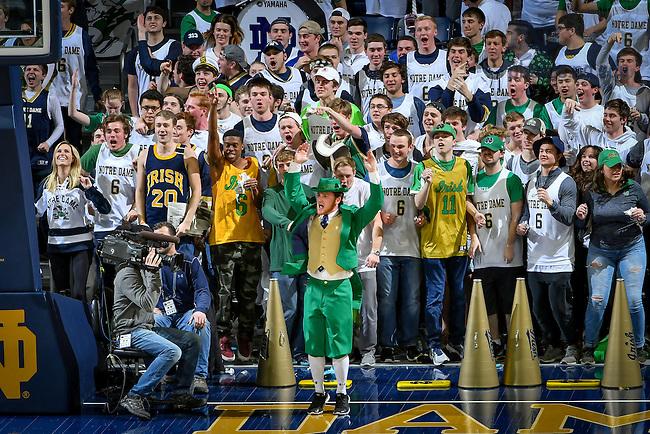 February 11, 2017; The Leprechaun Legion cheers at a Men's Basketball game. (Photo by Matt Cashore)