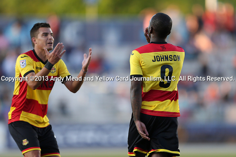 20 April 2013: Fort Lauderdale's Jemal Johnson (ENG) (9) celebrates his goal with Carlos Salazar (COL) (left). The Carolina RailHawks played the Fort Lauderdale Strikers at WakeMed Stadium in Cary, North Carolina in a North American Soccer League Spring 2013 Season regular season game.